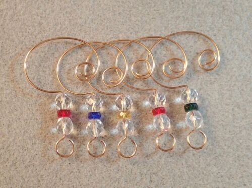 =^..^=  10  Ornament Hangers Hooks with Five Colors of Glass Rondelles Gold