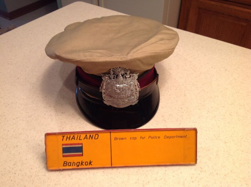 Taupe Brown Thailand Bangkok Polie cap/Hat from World Police Museum Milan Italy