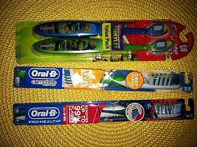 2 Colgate Kids Ninja Turtle, 2 Oral-B Deep Clean/Prohealth Toothbrush FAMILY LOT](Ninja Turtle Family)