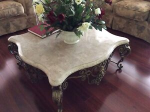 marble coffee table and lamp table