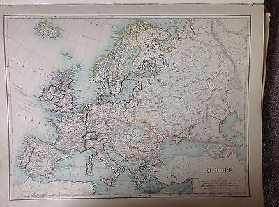 Europe or England & Wales (Northern Section), 1891 Antique Map, Large