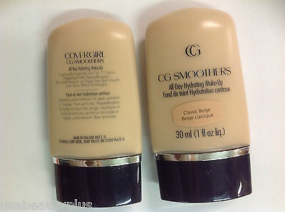 2 X CoverGirl CG Smoothers All Day Hydrating Makeup Foundation CLASSIC BEIGE.