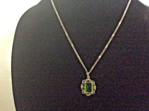 VTG Signed Art Deco Tourmaline STERLING SILVER Marcasite DBL Chain Necklace