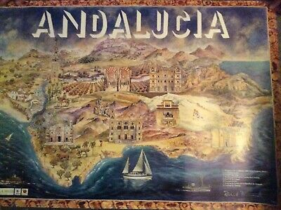 Andalucia & Cities Travel Tourism Prints 38x26.5 Richard Butterworth ANDALUCIA