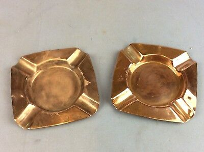 OLD J S & S ... Pair Copper Ashtrays Ship Worldwide