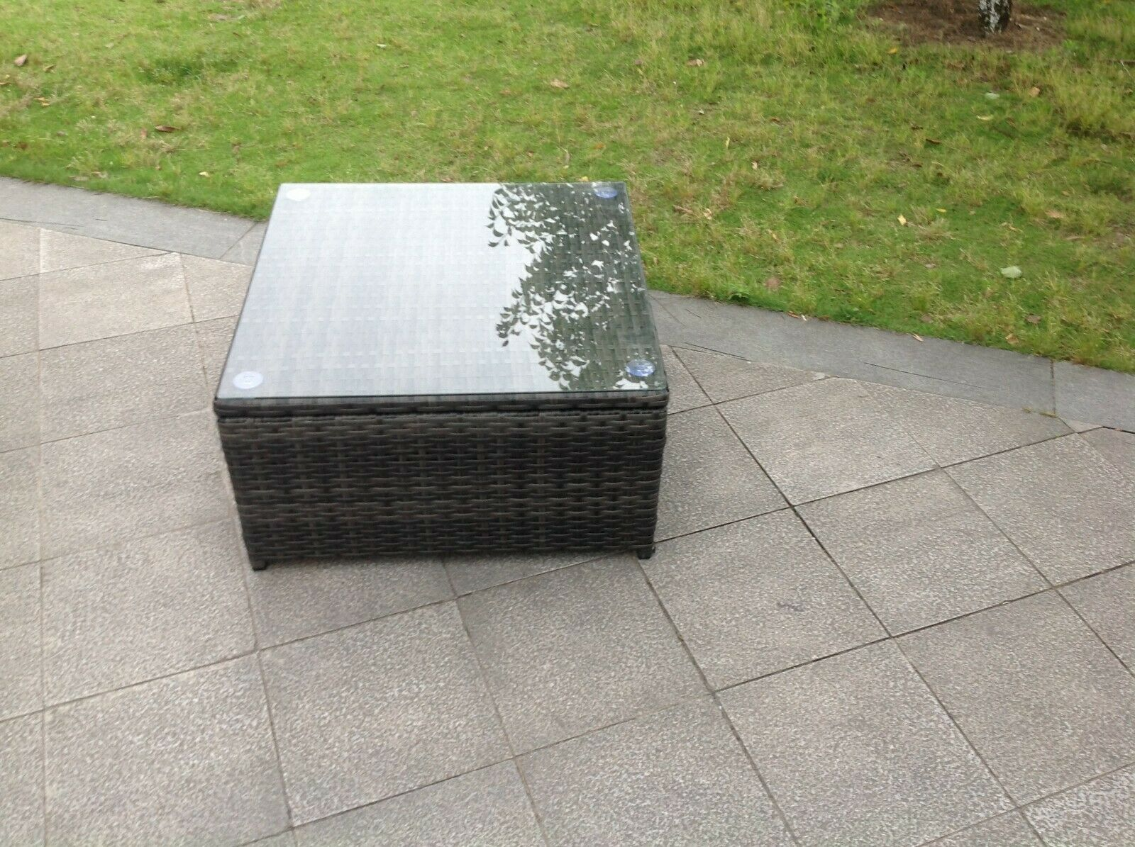 Garden Furniture - Grey rattan square coffee table outdoor garden furniture
