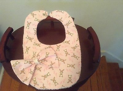 New Handmade Pink w/Bunnies Baby Bib and Matching Hair Bow Hair Baby Bib