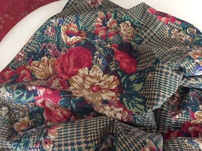 Ralph Lauren Catherine Houndstooth RARE Vintage Twin Fitted Sheet Floral Peony ()