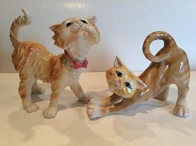 Two Yellow Tabby Cat Figurine Ganz Ceramic