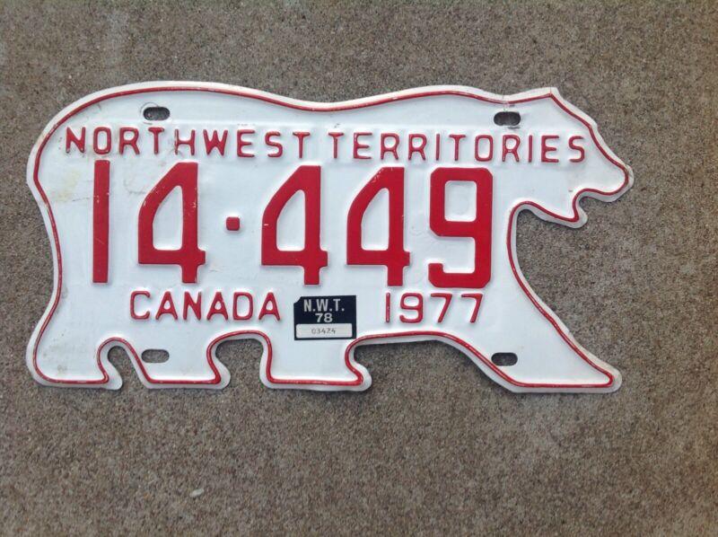 1977  CANADA - NORTHWEST TERRITORIES - POLAR BEAR LICENSE PLATE