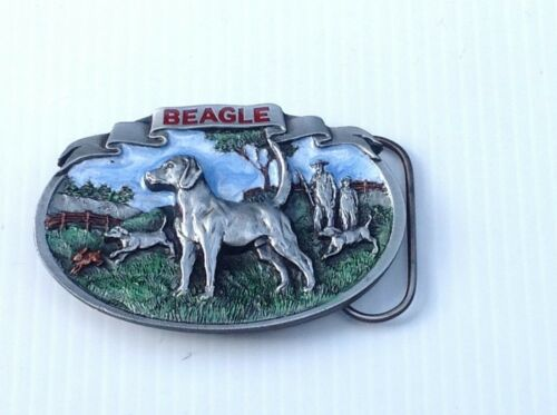 Beagle hunting dog belt buckle.vintage 1986