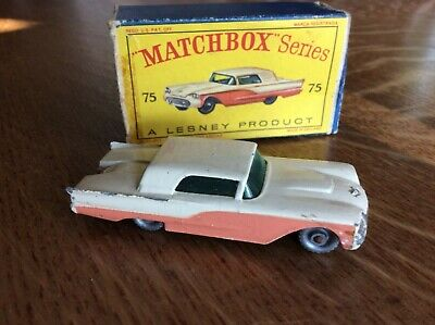 Vintage Matchbox Lesney Ford Thunderbird #75 Pink and White, Grey Wheels w/BOX