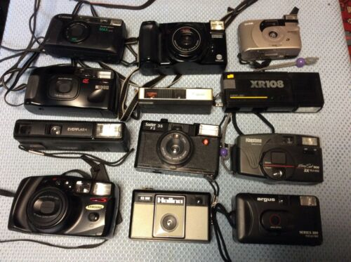 LOT OF 12 Point & Shoot Film Cameras - Not Tested & Sold As Is