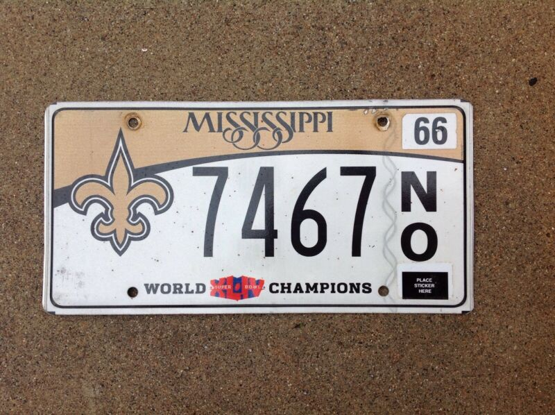 MISSISSIPPI - NEW ORLEANS SAINTS - LICENSE PLATE