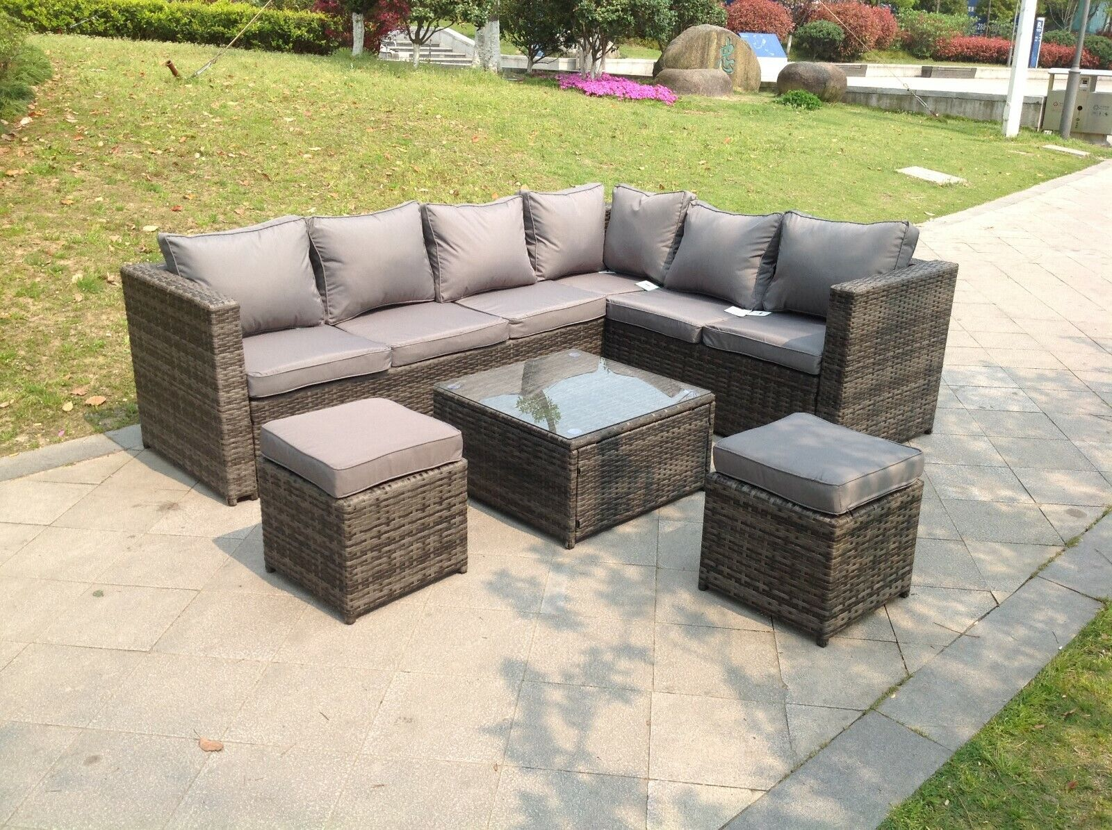 Garden Furniture - Grey rattan corner sofa set  with footstool 8 seater outdoor garden furniture