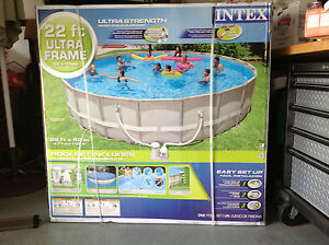 Intex 22 039 x 52 034 ultra frame swimming pool ebay for Intex 18 x 9 x 52 ultra frame swimming pool