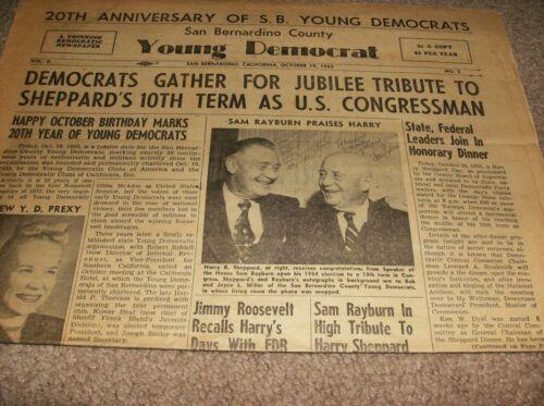 HARRY R. SHEPPARD - SAN BERNARDINO CALIF. NEWSPAPER - YOUNG DEMOCRAT - 1955