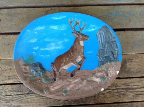 Jumping Deer Buck Ceramic Plate
