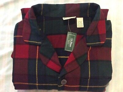 LL BEAN Mens Scotch Plaid Flannel Shirt Pajamas Top XL Tall ItemID 500668 100% C Mens Tall Flannel Pajamas