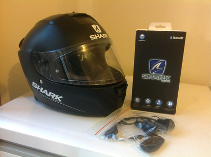 Shark Motorcycle Helmet (Medium) + SharkTooth Bluetooth Headset