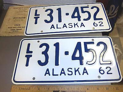 Pair of Alaska Metal License Plate from 1962 Mint plate set w/ DMV bag 31-452