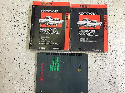 1991 TOYOTA TRUCK Service Repair Shop Manual Set OEM 91 W TECHNICAL BULLETINS BK