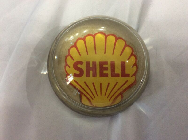 RARE SHELL OIL GAS RESEARCH ADVERTISING GLASS PAPERWEIGHT