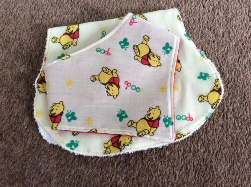 Baby+Burp+Cloth+%26+Bandana+Bib+Set+-+Handmade+-+Winnie+The+Pooh+on+Cream+
