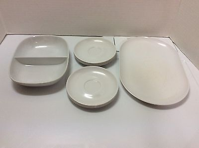 Vtg Mid-Century Lot of 10 WHITE Kitchen Picnic Pool Party Snack Camping Dishes