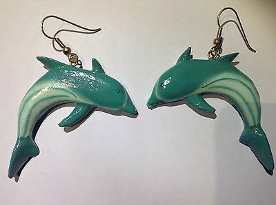 Large Dolphin Earrings (Large Cute Dolphin Save Endangered Animals Fashion Earrings Blue Jewelry Earth )