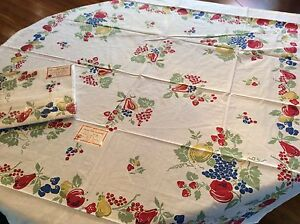 NEW-Vintage-Style-Cotton-40s-50s-Tablecloth-VINTAGE-FRUIT-52-Square