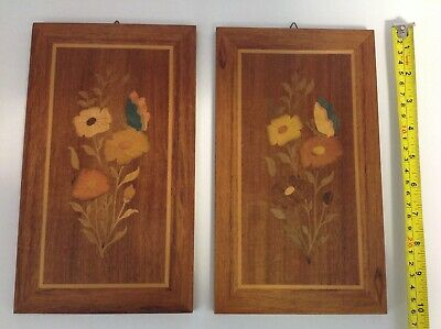 2 x FLORAL WOODEN INLAID PICTURES - Marquetry Wood - USED