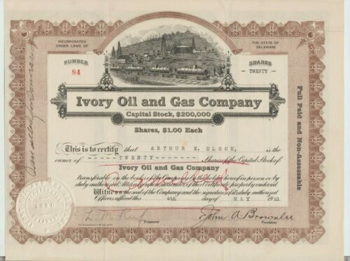 Ivory Oil & Gas Company Stock Certificate