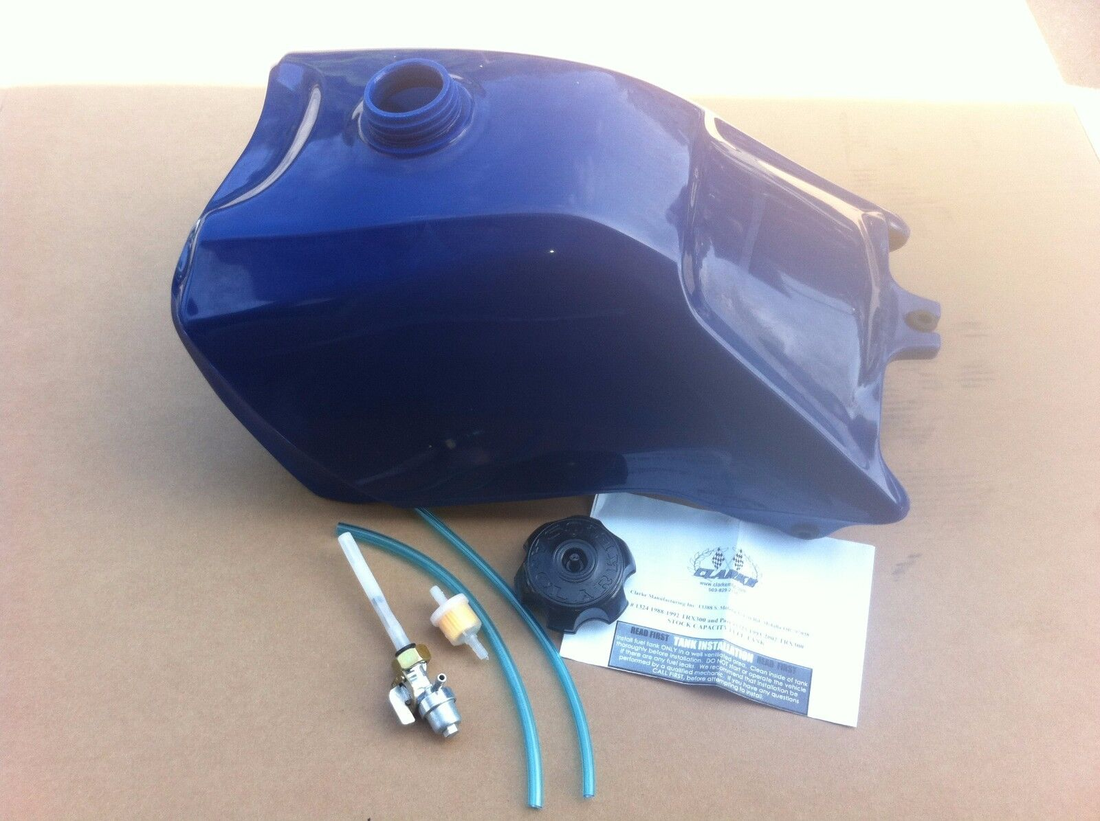HONDA TRX300 TRX 300 88-92 PLASTIC GAS FUEL TANK FOURTRAX blue with petcock