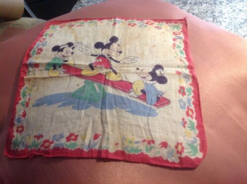 Vintage 1950s Mickey Mouse linen hankie...8x8...as found...so sweet