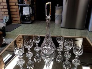 Bohemia tall crystal decanter & 6 crystal wine glasses Ottoway Port Adelaide Area Preview
