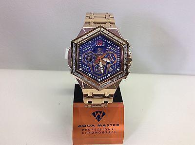 Men Aqua Master Jojo Jojino Joe Rodeo Rose Metal Band 48Mm Diamond Watch W 356 4