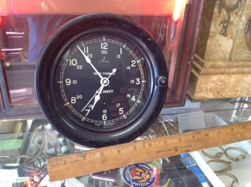 SETH THOMAS US NAVY SHIP CLOCK  WW II VINTAGE  EXCELLENT CONDITION  USA