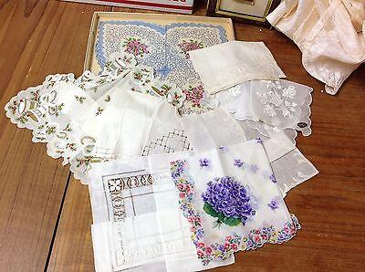 9 Vintage Linen Ladies' Hankies Handkerchiefs, Lace, 1 Christmas, Violets Unused
