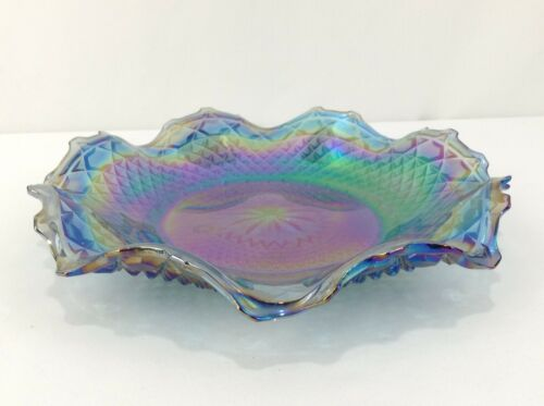 Carnival Glass Indiana Blue Ruffled Round Serving Dish