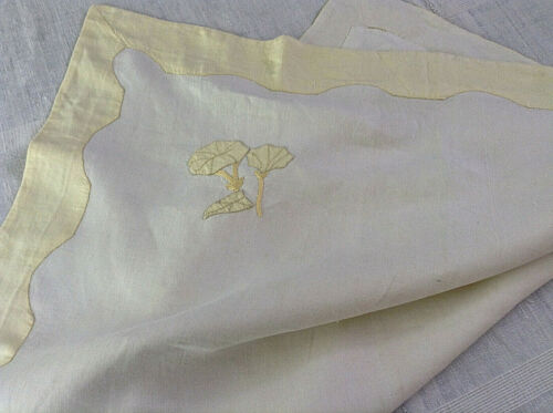Antique/Vintage French pillow sham lovely pure linen hand sewn yellow scallop  ,