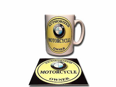 BMW MOTORCYCLE OWNER CERAMIC MUG PLUS **FREE** ENAMELLED FINISH COASTER,RETRO.