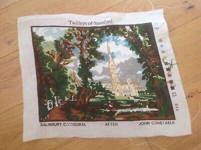 Vtg Embroidery Of Salisbury Cathedral, Completed Needlepoint John Constable, VGC