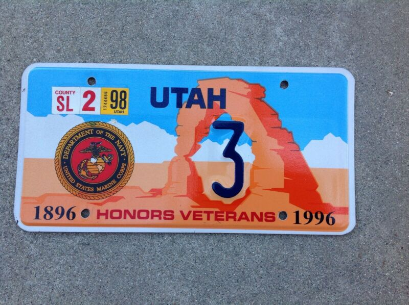 1996 - UTAH - HONORS VETERANS -  LICENSE PLATE - UNITED STATES MARINE CORPS