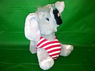 "1993 COCA-COLA Stuffed Elephant in Swimsuit Plush Animal Toy 9"" Vintage Coke"