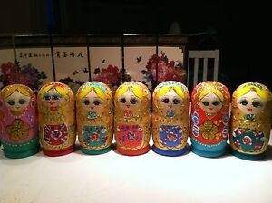 russian nesting dolls Set Of 6 Hand made 6 inchs tall US Seller