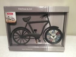 """Bicycle Tabletop Clock Firstime & Co 14""""x8"""" AA Battery Wrought Iron Quartz Move"""