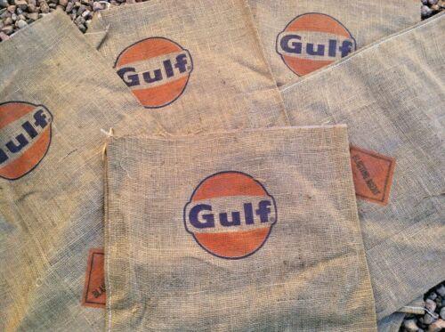 Lot of (40) Vintage GULF OIL Burlap Bag BLASTING AGENT Sack Sign