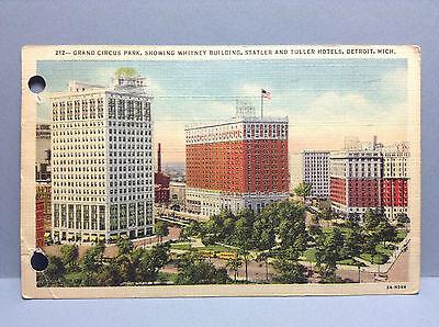 Grand Circus Park Whitney Statler Tuller Hotel Detroit Mich Vtg Postcard 1946