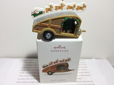 HAPPY CAMPERS HALLMARK ORNAMENT 2018 SANTA AND HIS REINDEERS INSERT LIGHT NEW ()